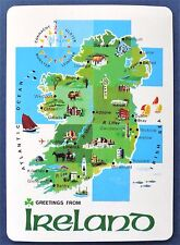 SWAP CARD. MAP OF IRELAND WITH CULTURAL ICONS, LANDMARKS & MAIN CITIES. WIDE