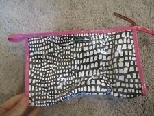Kate Spade brown white pattern pink trim plastic covered cosmetic bag