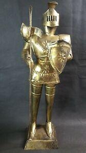 "Vintage Mid Century Medievil Knight Suit Of Armor Tin Statue Shield Decor 16"""