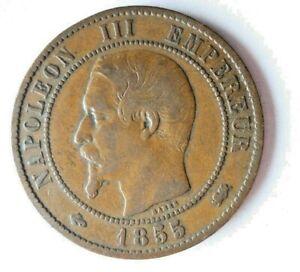 1855 D FRANCE 10 CENTIMES - Excellent Vintage Coin - Lot #L25