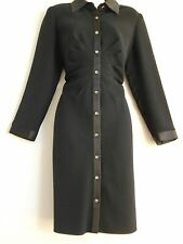 TALBOTS BLACK DRESS Satin Trim LINED Button Down Front Shirred Waist 10 Petite