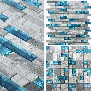 Mosaïque Verre Carreaux Pierre Naturelle Sinop Gris Bleu salle de bain
