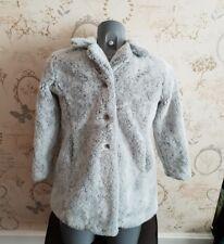 Next girls faux fur coat jacket light grey age 7/8 years