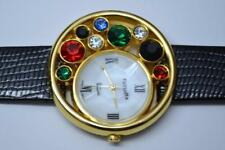 Unique Futura Multicolored Rhinestones Ladies Gold Tone Watch model 7421 new bat