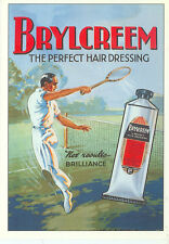 "BRYLCREEM-MAN PLAYING TENNIS-NET RESULTS BRILLIANCE-ADV-REPRO-4""X6""(DV-363*)"