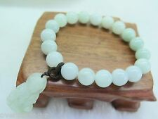 Natural Grade A Jade (jadeite) 10mm Aqua beads Bracelet with Kwan-yin Charm