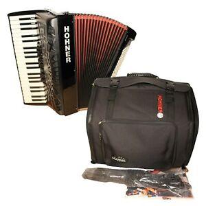 Hohner Piano Accordion Bravo III 120 bass black with soft gig bag and straps
