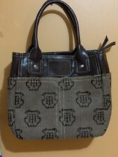 Tommy Hilfiger Brown Purse Large Tote Leather Logo Handbag Pockets Zipper Fabric