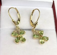 14k Solid Yellow Gold Butter Fly Lever-back Earrings, Natural Peridot 1.58 Gr