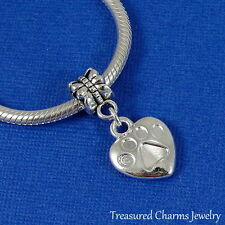 Silver HEART with PAW PRINT Dangle Bead CHARM Cat Dog Paw fits EUROPEAN Bracelet
