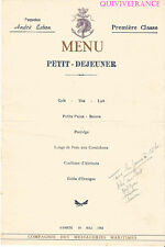 MN290 - MENU PAQUEBOT ANDRÉ LEBON 1952 MESSAGERIES MARITIMES