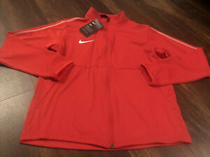 New Nike Youth Park 18 Soccer Full Zip Jacket Size Large Red White