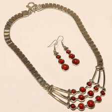 RED CORAL STONE TURKISH 925 STERLING SILVER PLATED NECKLACE  JEWELLERY *-