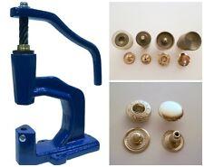 Spindelpresse + 180 Druckknöpfe ALFA / 15mm silber + Werkzeug für Textil, Leder