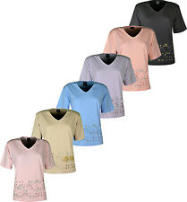 Women's  T Shirt V Neck Top Front Embroidery Free Size Fit For 12-16