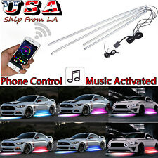 4pcs App Control RGB Car Chassis Neon Glow LED Light Strip Underbody System Kit