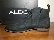 Mens Aldo Suede Cap Toe Boot w/ Inside Zipper - Black - Size 13
