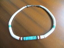 Old Vintage Turquoise Heishi  Shell Beaded necklace N. American Santo Domingo