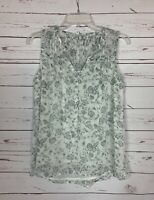 Lucky Brand Women's XS Extra Small White Gray Floral Spring Summer Top Blouse