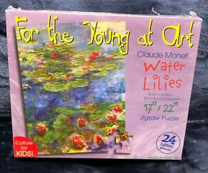 "Monet Water Lilies Painting For The Young At Art 24 Piece Puzzle 17"" X 22""  NEW"