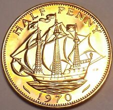 Super Proof Great Britain 1970 Half Penny~The Golden Hind~Last Year~Free Ship