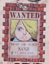 One Piece Sanji Drawn Wanted Poster Key Chain Anime NEW