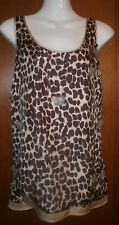 J CREW Silk Animal Print Beaded Tank Top Sleeveless overlay Blouse Size 14 NWOT