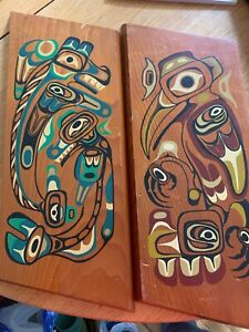 Northwest Canada Coast 1st Nations Red Cedar Painted plaque wall Native Salish