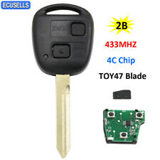 2 Button Remote Key 433MHZ 4C Chip for Toyota RAV4 Corolla Yaris TOY47 Blade