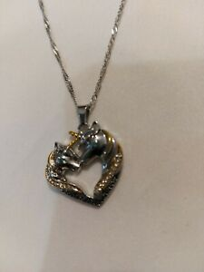Unicorn Pendant Necklace,silver Colour Chain Rosary ,chain ,jewellery  UK