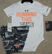 New! Boys Under Armour Summer Outfit (Shirt, Shorts; Run This Game)- Size 3-6 mo