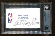 Earl Strom Signed Business Card Autographed NBA HOF Referee Beckett BAS *7989