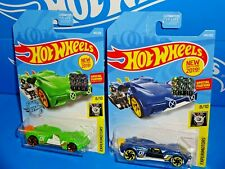 Hot Wheels New For 2019 Factory Set Lot of 2 #144 Slide Kick Green & Blue