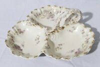 Limoges France Martin Freres & Brothers Large Divided 3-Section Candy Dish