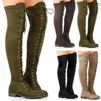 Women Combat Gladiator Over the Knee Thigh High Bandage Boots Flat Lace Up Shoes