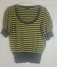 Dorothy Perkins Ladies Green Striped Short Sleeve Jumper Top Size UK 16 / EU 44