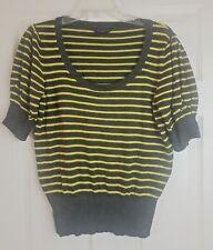Dorothy Perkins Women's Green Striped Short Sleeve Jumper Top Size UK 16 / EU 44