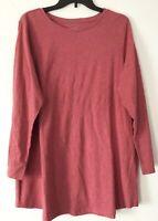 NEW PURE J. JILL 1X L/S Shirttail Tunic Pima Cotton/Modal Rose Pink