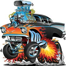 "Edible Icing Cake Topper 7.5"" ROUND Muscle Car Blower Hot Rod FREE POST"