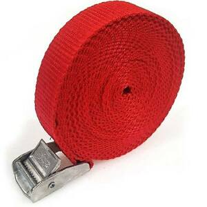 9 Buckled Straps 25mm Cam Buckle 5 meters Long Heavy Duty Load Securing Red