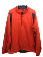 Adidas Golf Windbreaker Jacket Mens Large Orange Long Sleeve Pullover 1/2 Zip