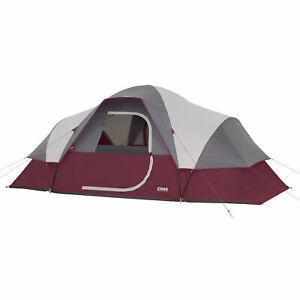CORE Extended Dome Tent 16 x 9 Foot 9 Person Camping Tent with Air Vents, Red