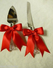 Wedding Reception Party Big Red Bows Elegant Cake Knife & Server Set