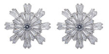 CLIP ON EARRINGS - silver plated luxury stud earring CZ stones & crystals - Mary