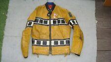 vintage LEWIS LEATHERS jacket YAMAHA biker leather motorcycle zips tag 38 yellow