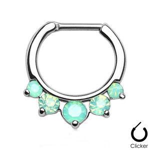 "Septum Captive Clicker w/5 Opalite Green Pronged Gems 16 Gauge 5/16"" Steel Body"