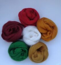 MERINO CORRIEDALE CHRiSTMAS SHADES dyed wool tops / roving / needle felting  60g