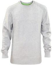Mens Plain Sweatshirt Jumper Ribbed Pullover Work Casual Sweater Leisure Top Grey XL