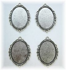 4 Ant. Silvertone Art Nouveau 40mm x 30mm CAMEO Costume PENDANTS Frames Settings