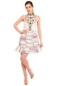 RRP €2075 GIAMBATTISTA VALLI Flounce Dress Size 42 / S Contrast Silk Embellished